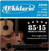D'Addario EZ 940 Br - kovové struny pro 12 strunnou akustickou kytaru (light) 10/50